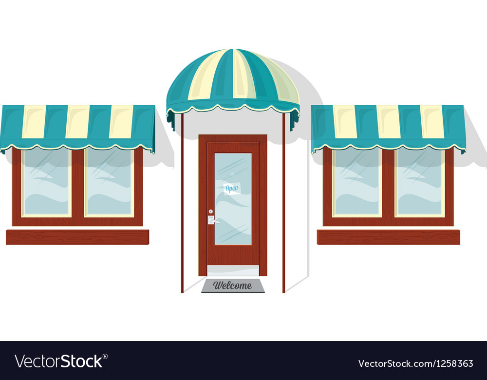 Store front door and windows vector