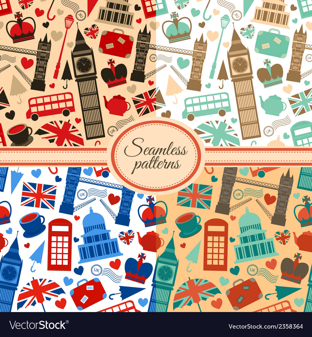 Collection of seamless patterns with london vector