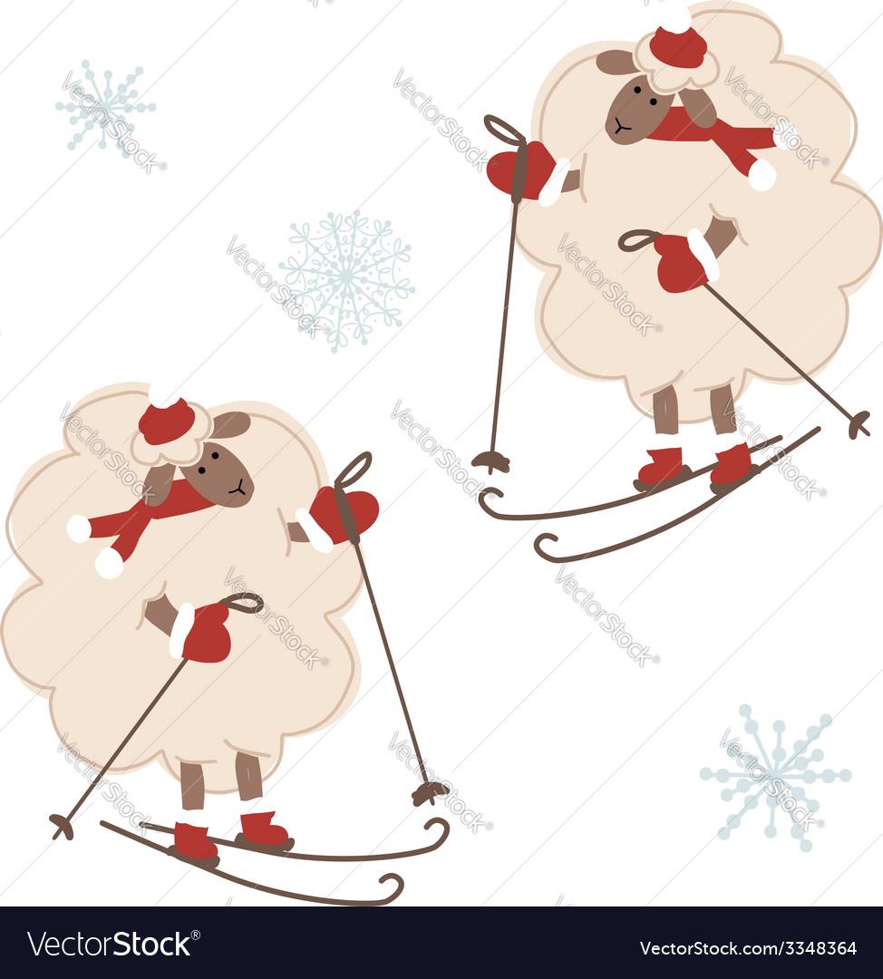 Sheep santa skiing symbol of new year 2015 vector