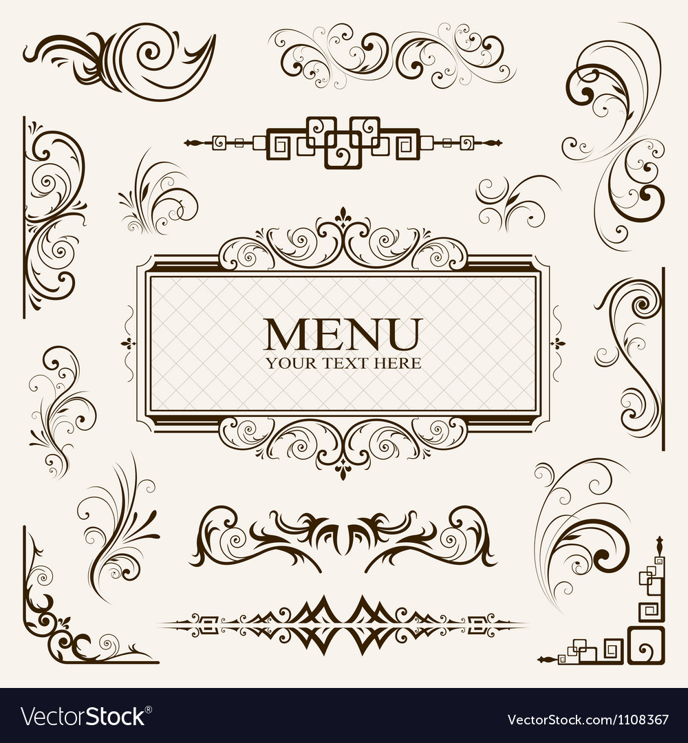 Calligraphic elements vintage vector