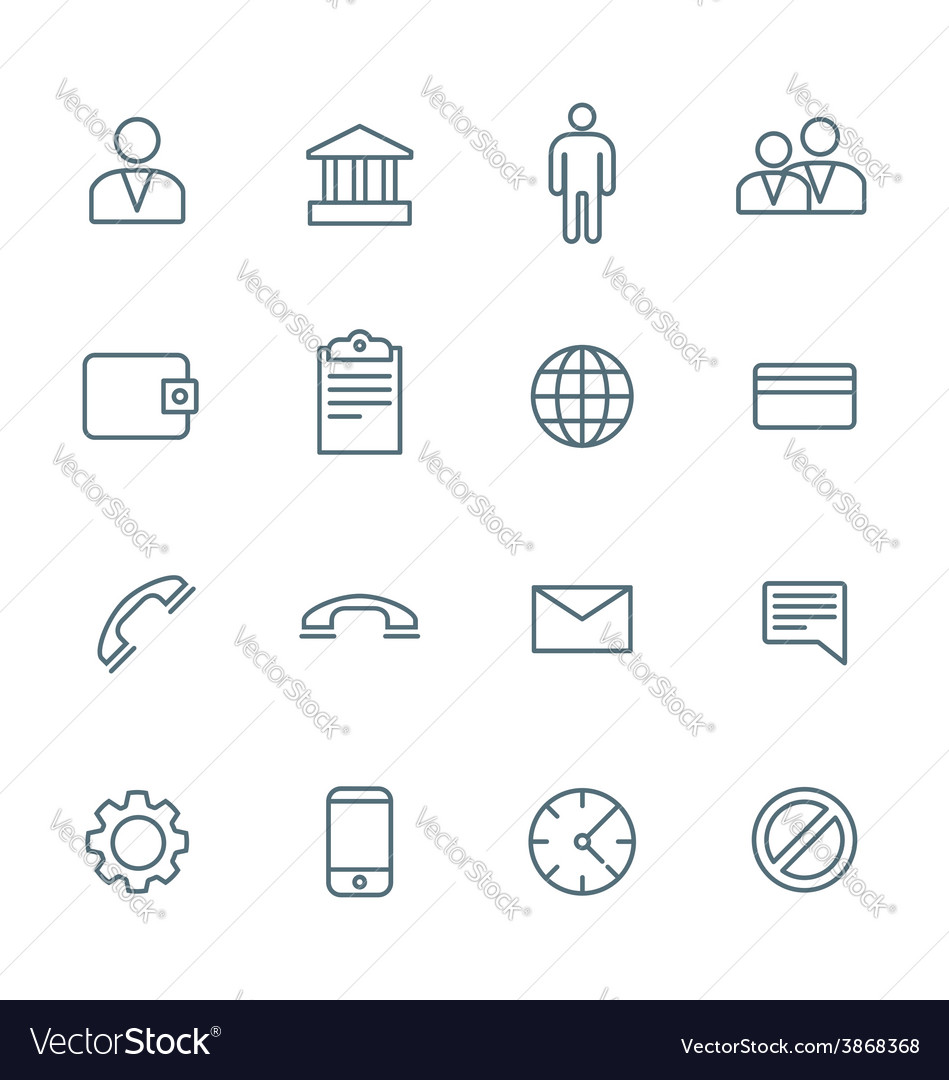 Dark outline various social network icons set vector