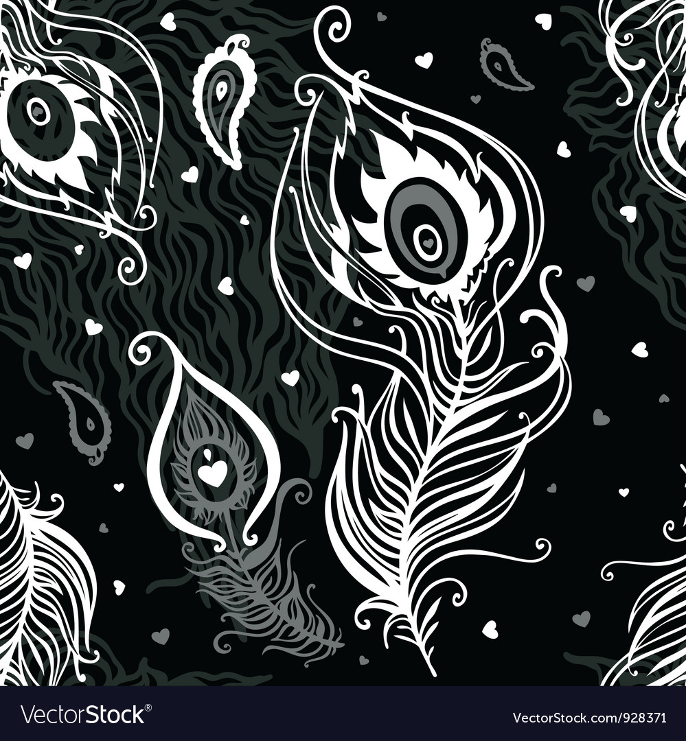 Peacock feather abstract seamless pattern vector