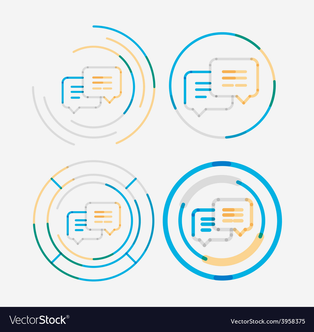 Thin line neat design logo set messages concept vector