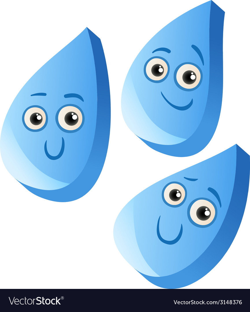 Funny rain drops cartoon vector