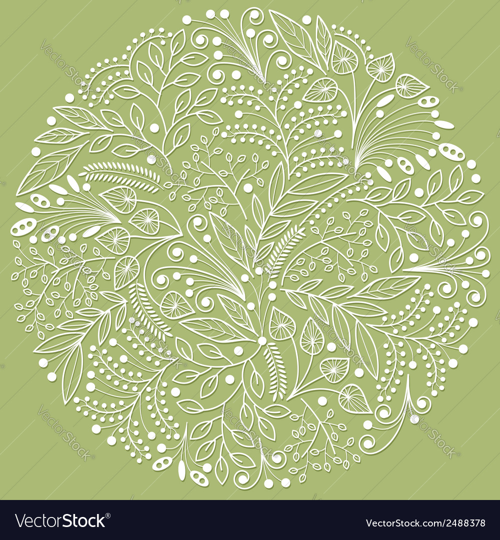 White decorative floral composition vector
