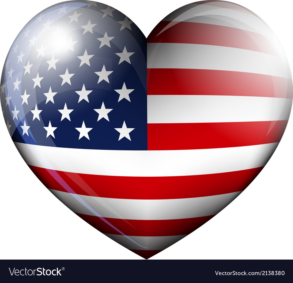 Stars and stripes heart vector