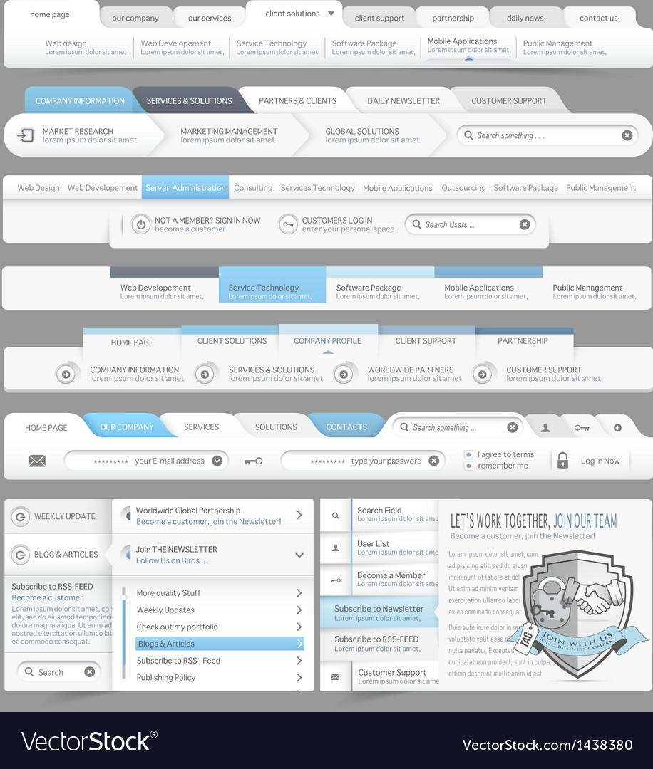 Website design menu navigation vector