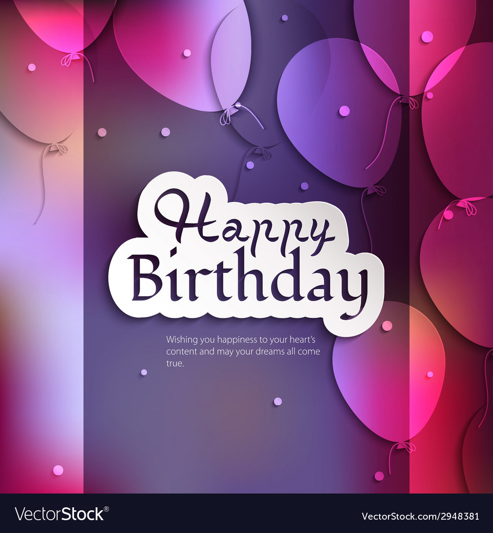Birthday card with balloons and birthday text vector