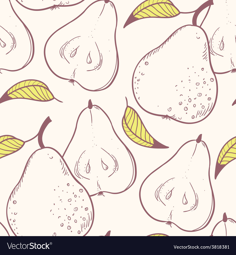 Stylized yellow pear seamless pattern vector