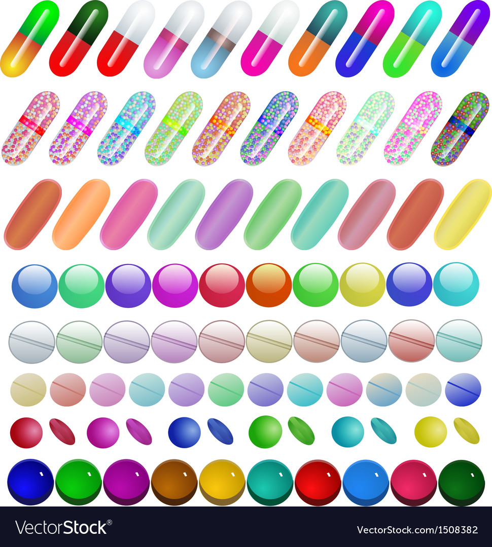 Set of medical pill vector