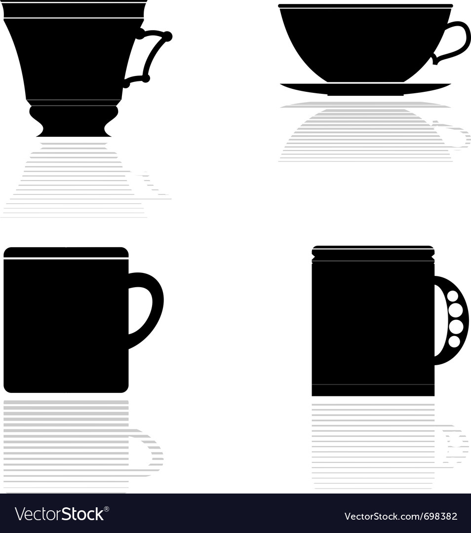 Silhouettes of tea cups vector