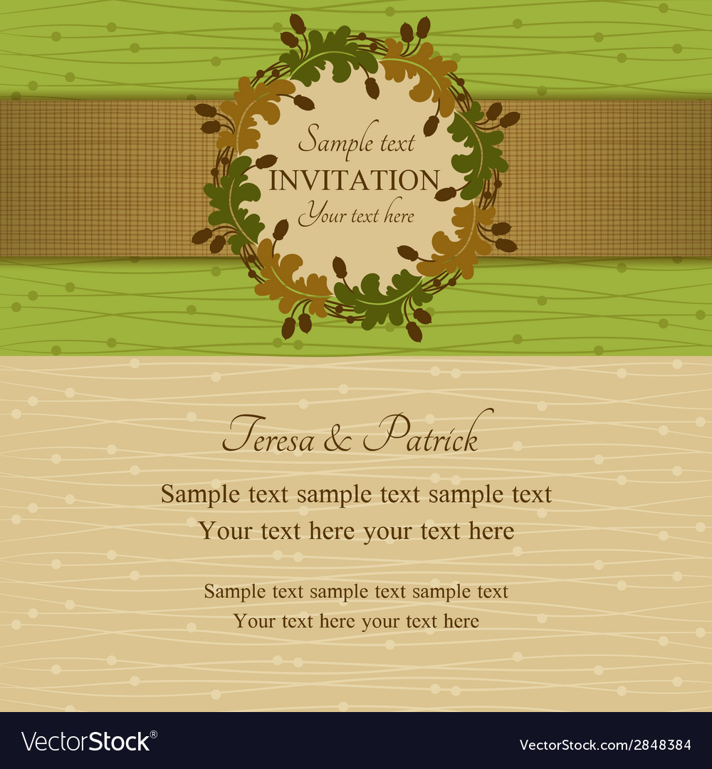Autumn or summer invitation green and beige vector