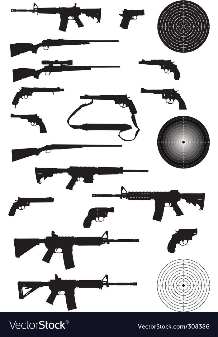 Gun silhouette collection vector