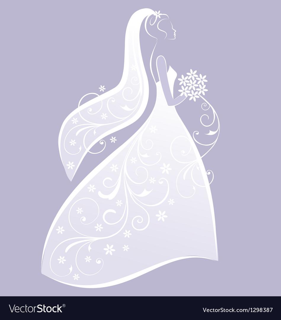 Bride in white wedding dress vector