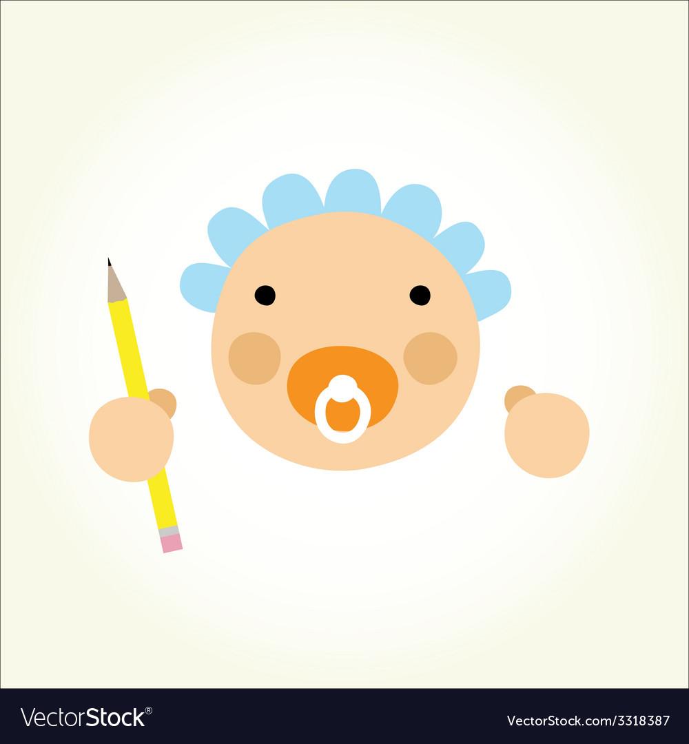 Cartoon baby beginner artist vector