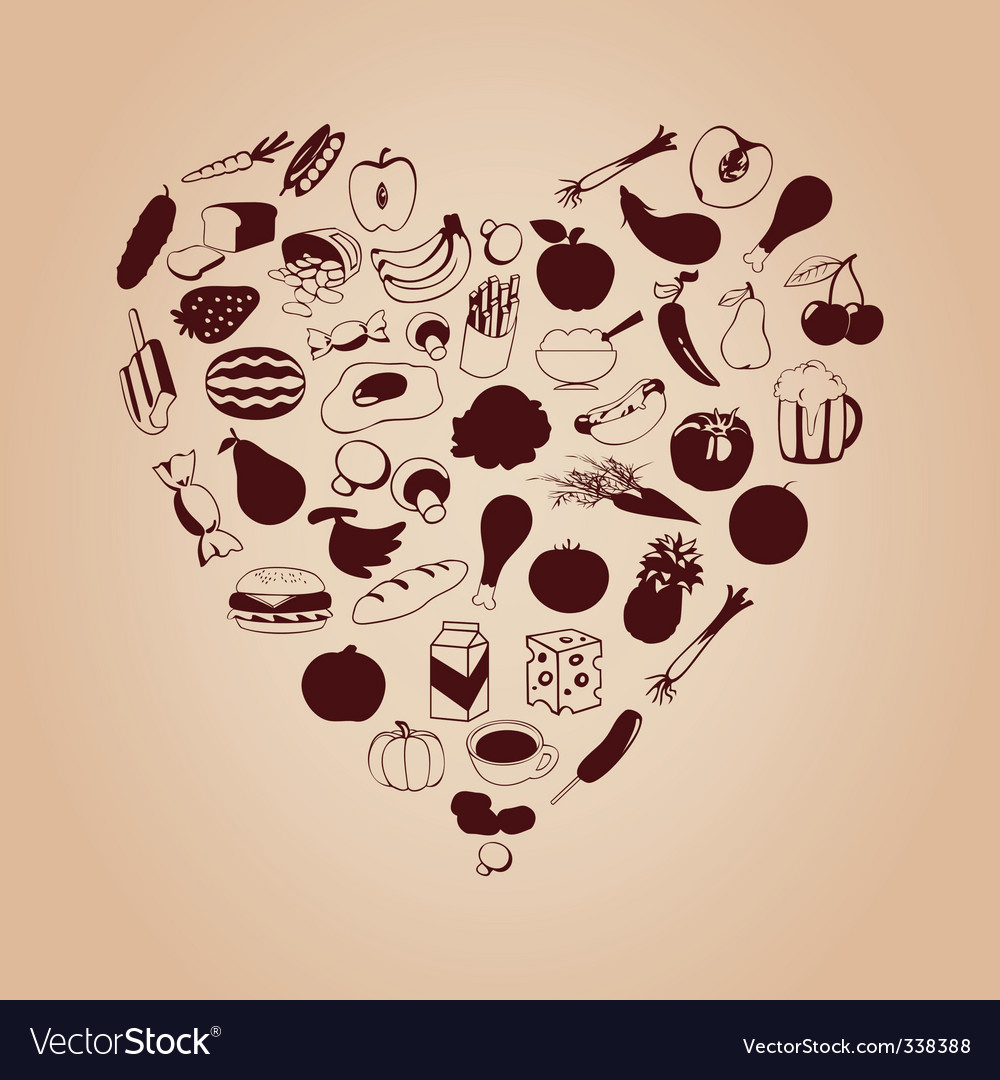Heart from meal vector
