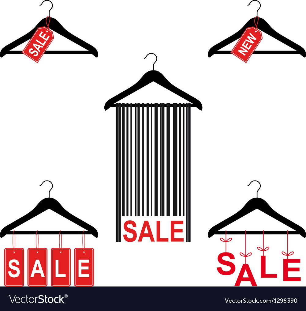 Sale tags on clothes hanger set vector