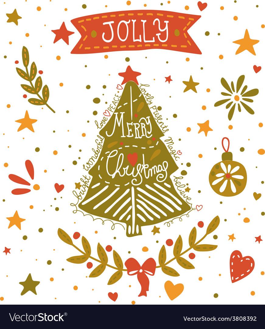 Christmas sketchy greeting card with a christmas vector