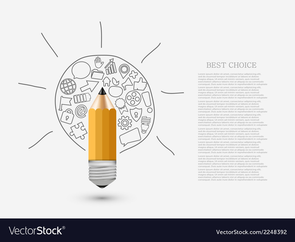 Concept pencil with idea vector