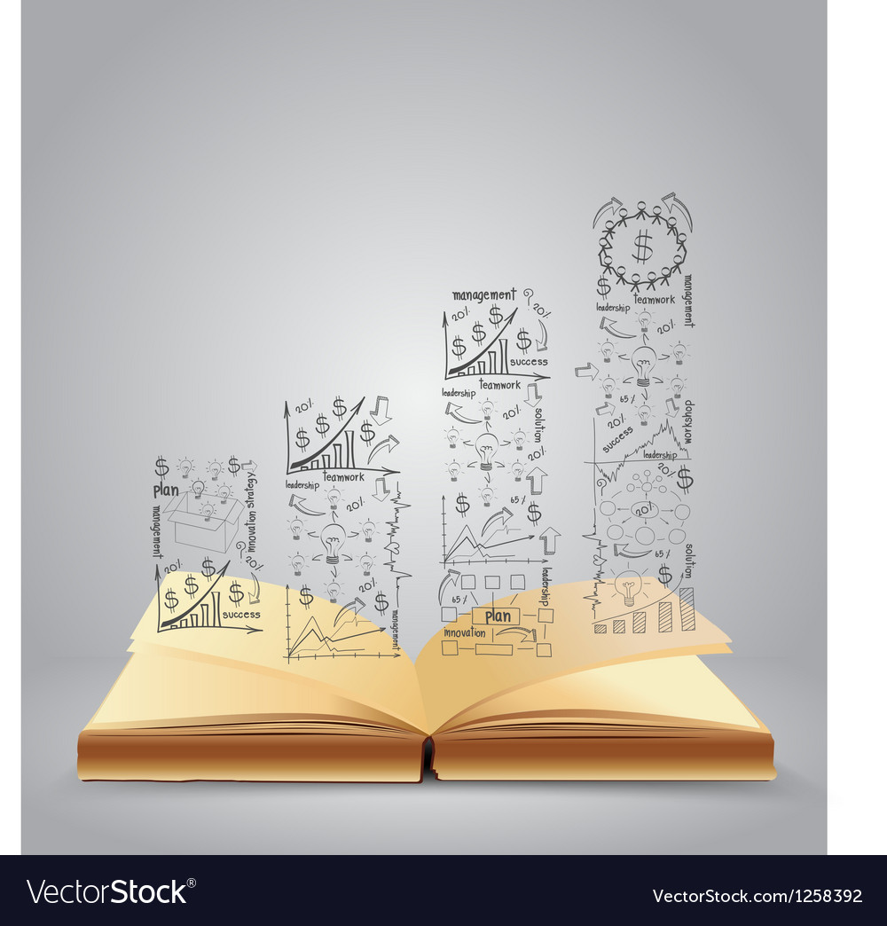 Drawing business strategy plan on book vector
