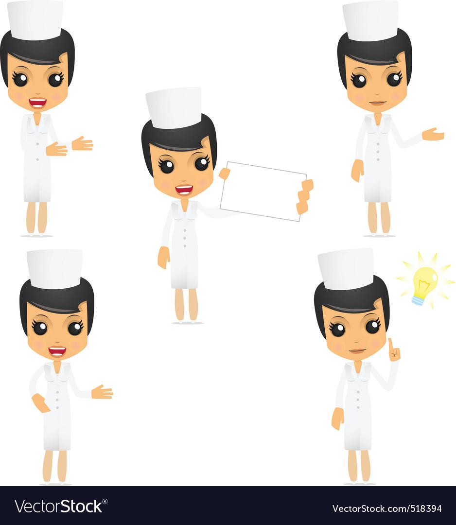 Set of funny cartoon nurse vector