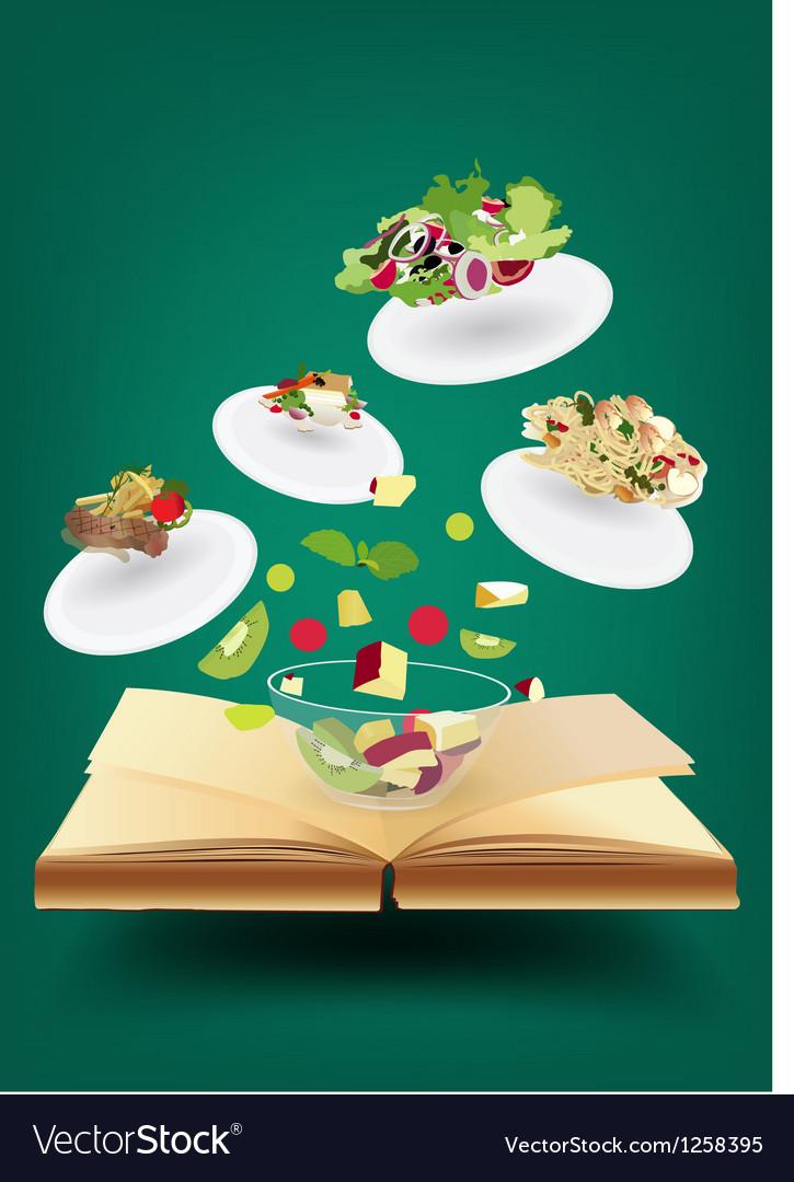Creative recipe book concept idea vector