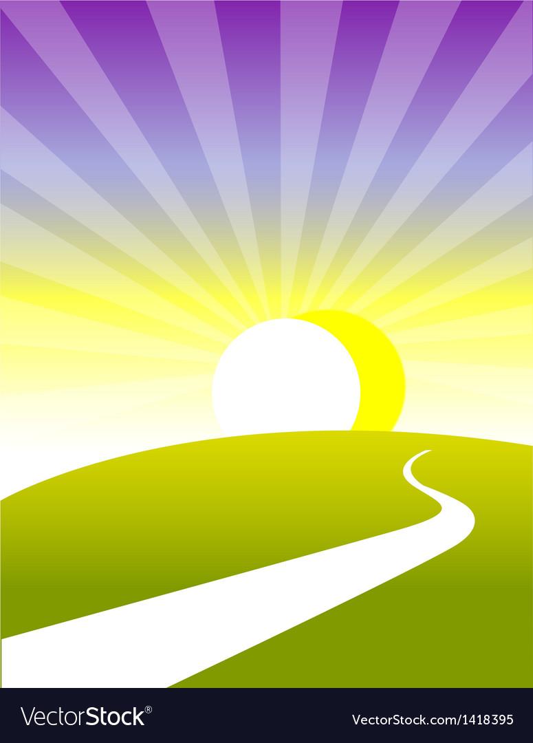 Curved path land sunrise vector