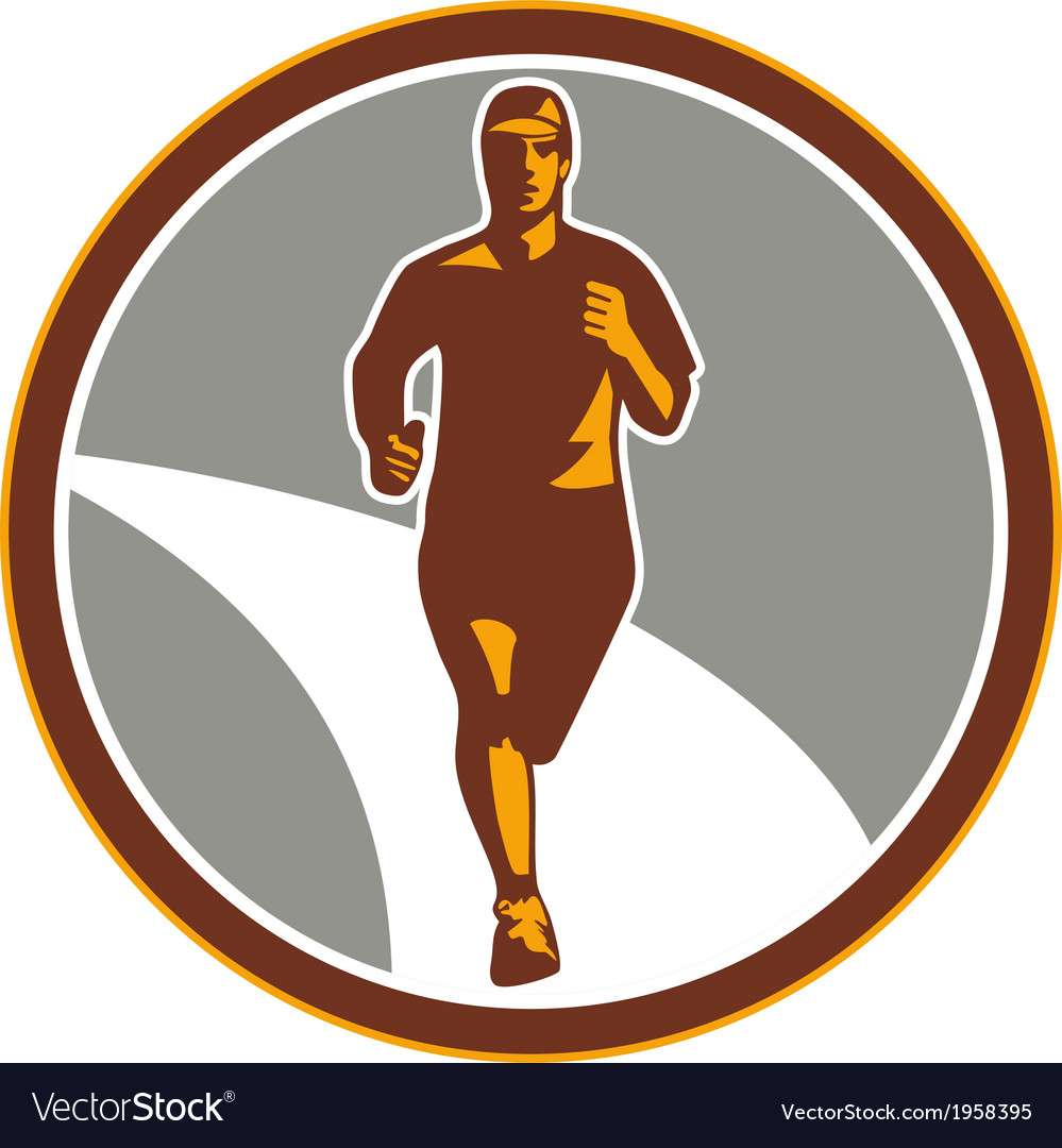Marathon runner front circle retro vector
