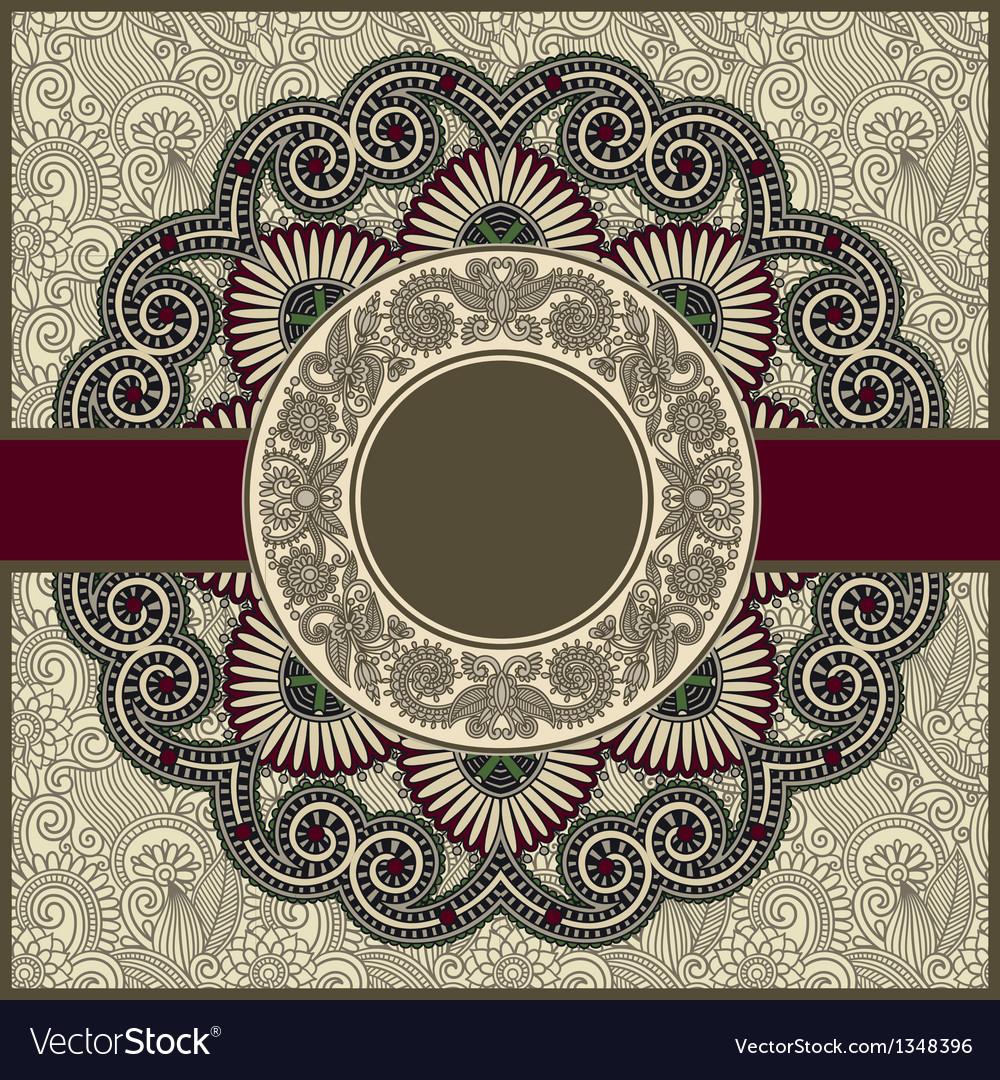 Circle floral ornamental vintage template vector