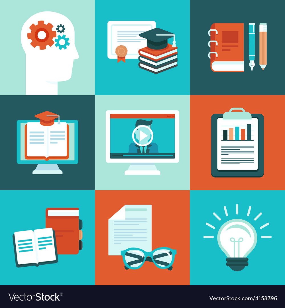 Educational icons and signs in flat style vector