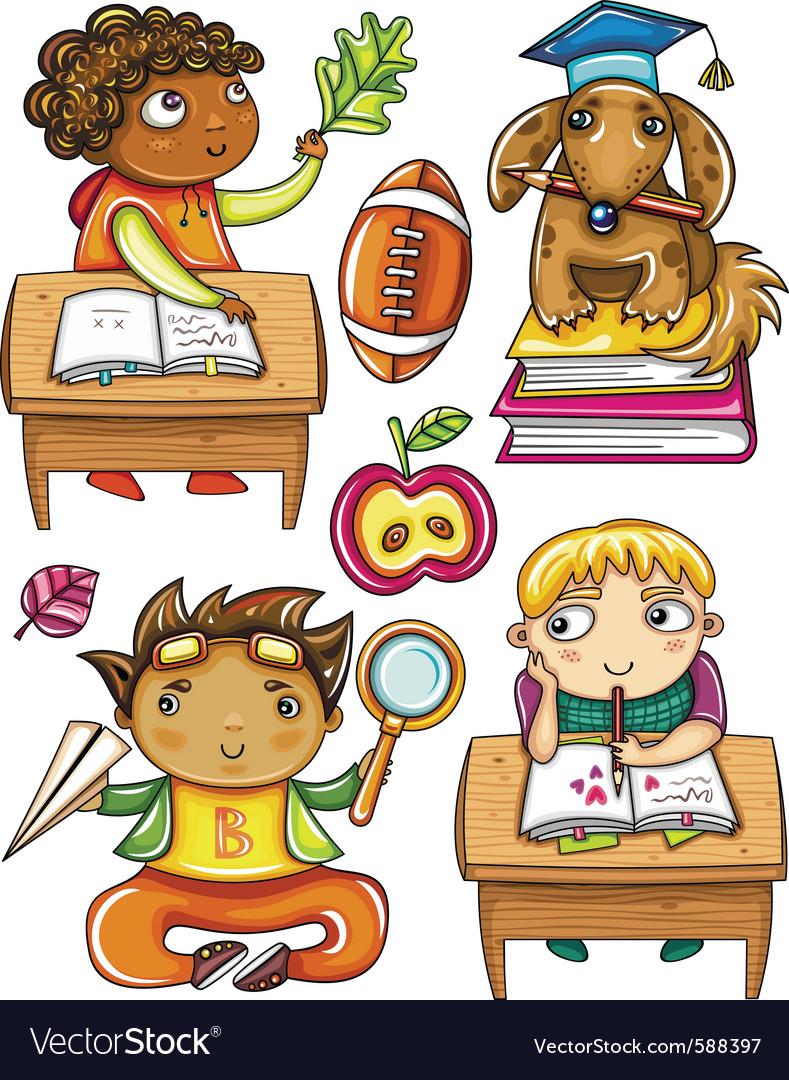 Schoolchildren set 2 vector