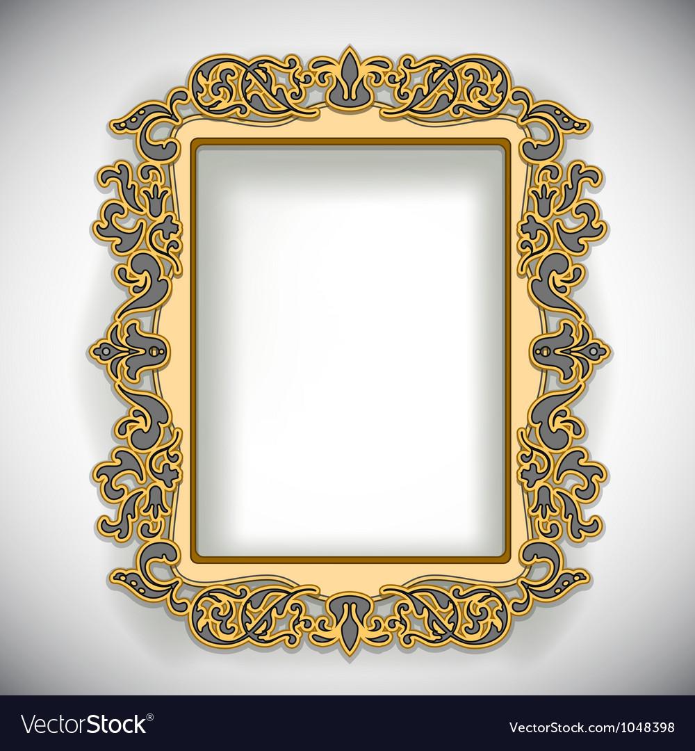 Carved wooden frame vector