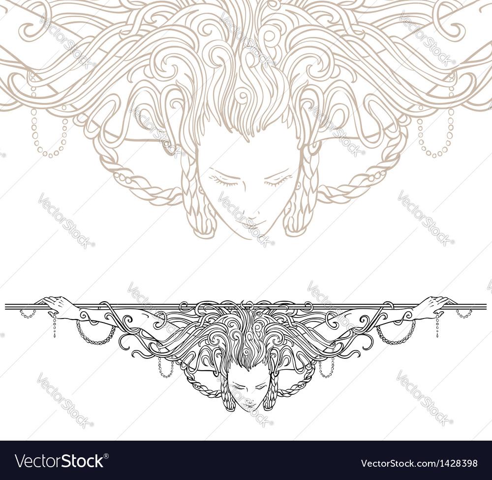 Decorative divider as vintage engraved woman vector