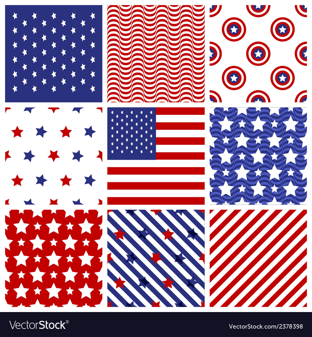Set of seamless in american colors vector