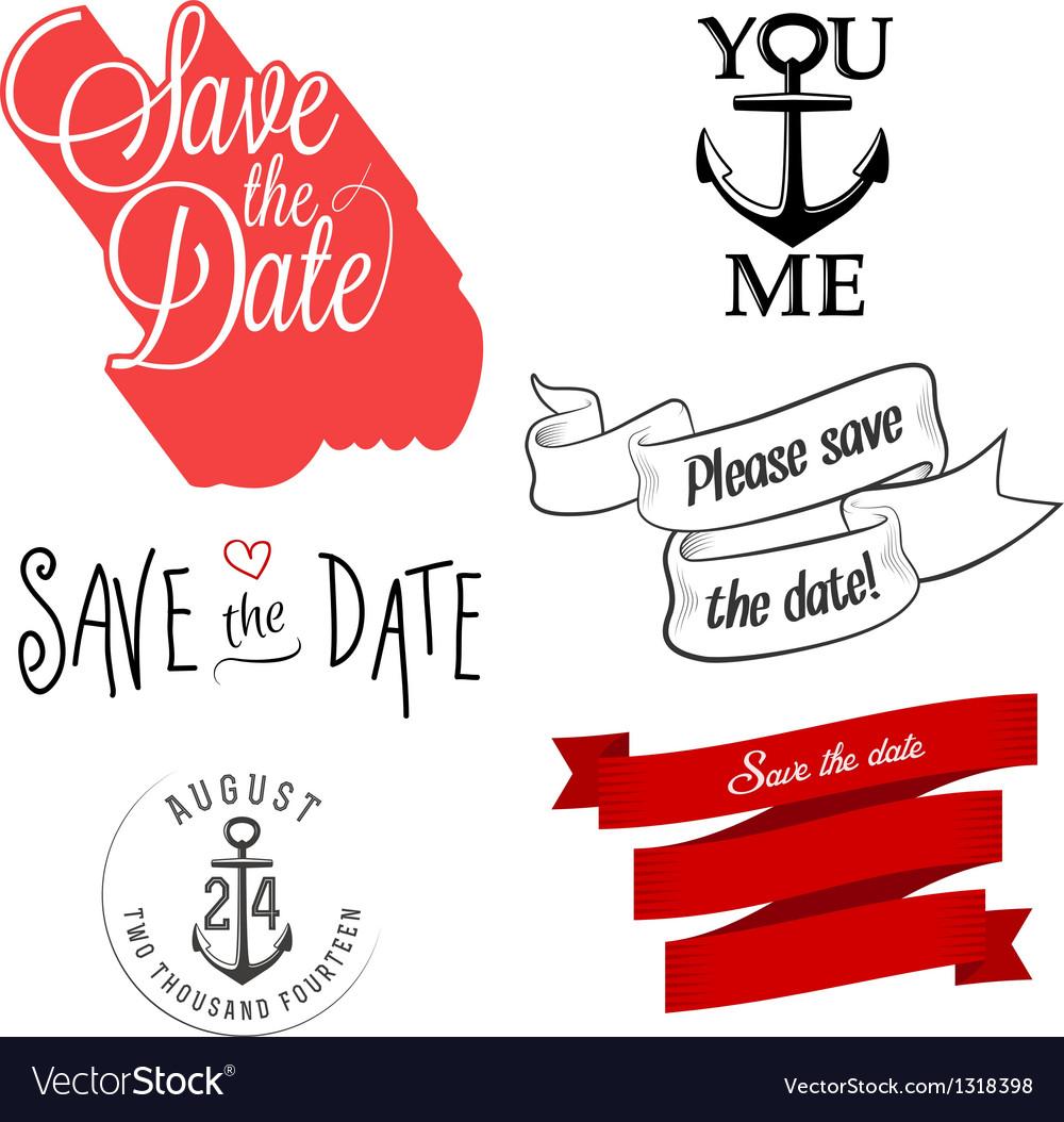 Wedding invitation typographic design elements vector
