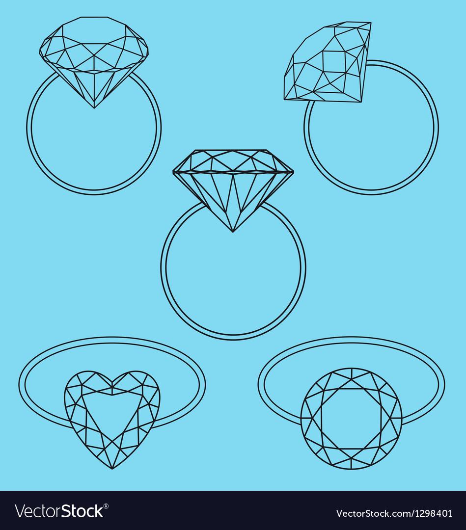 Diamond rings set vector