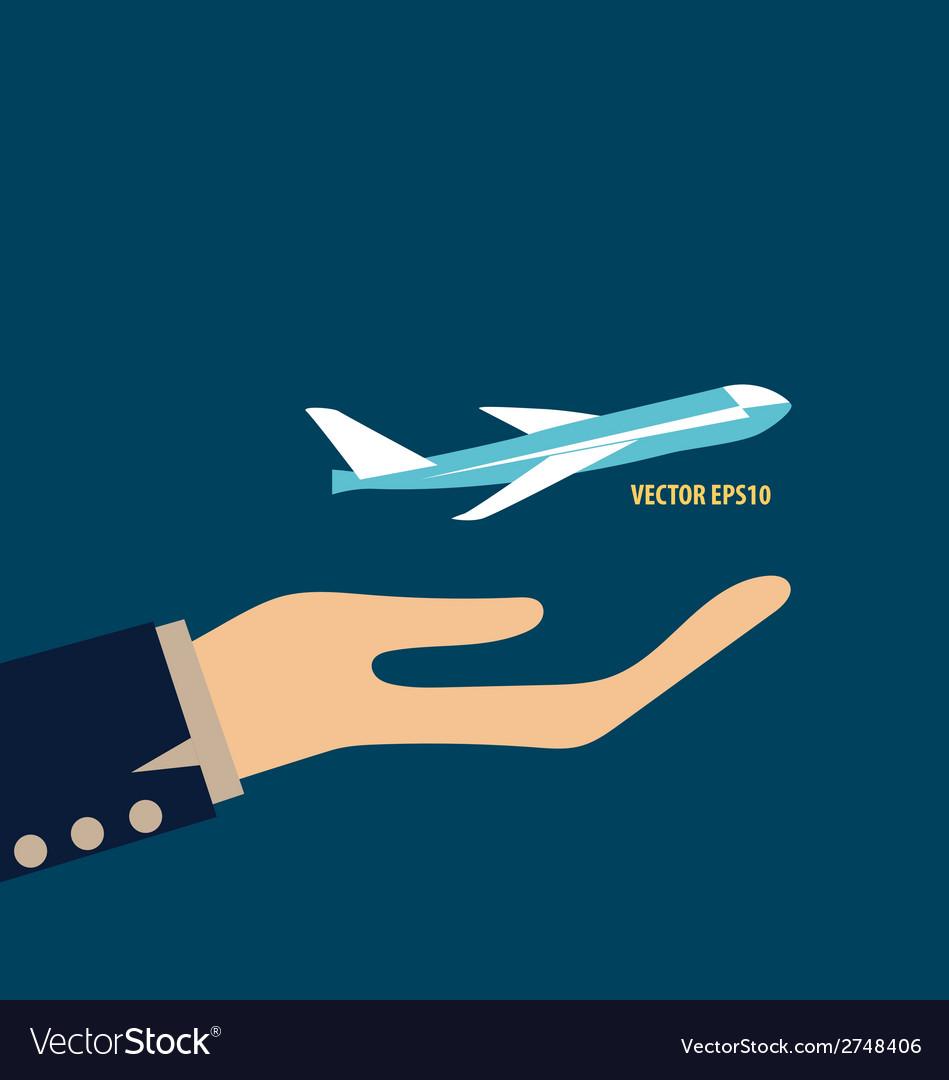 Hands holding plane vector