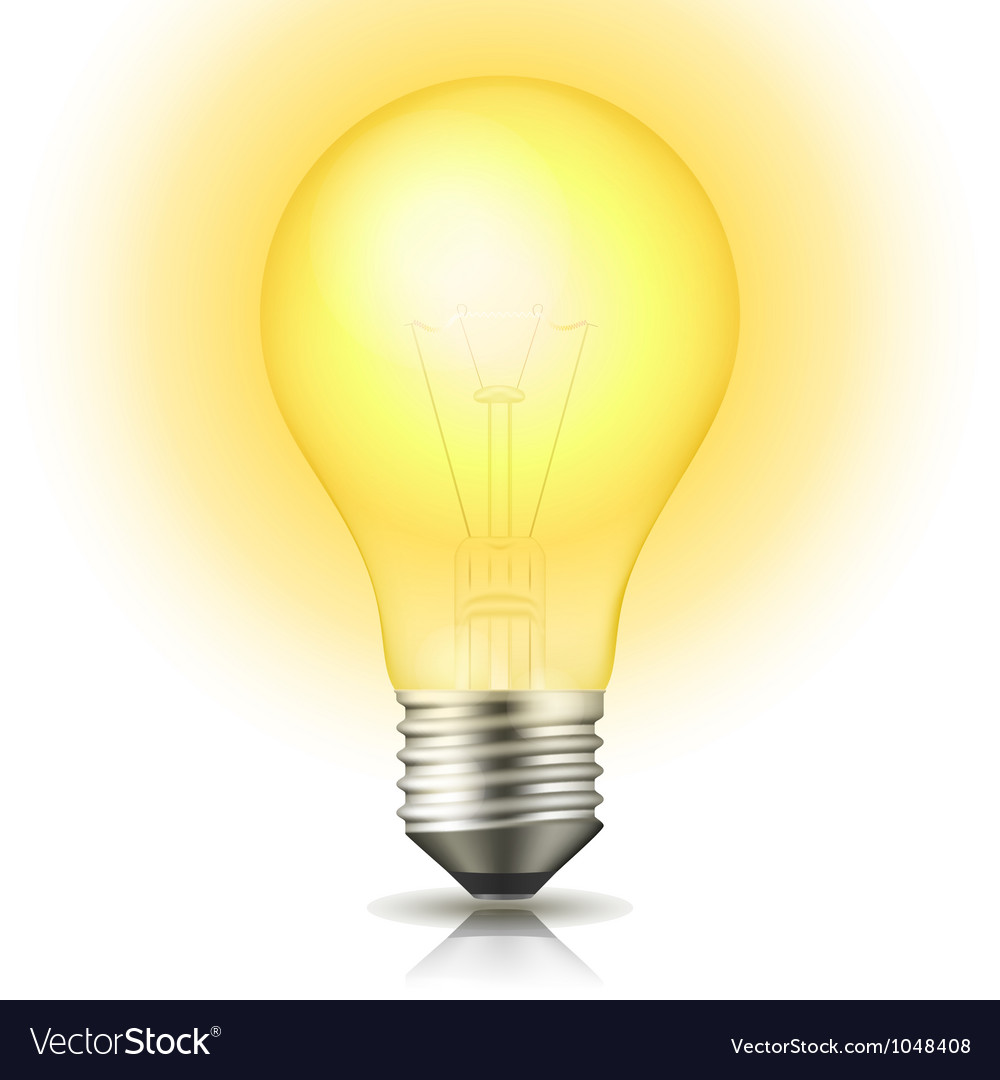 Lit light bulb vector