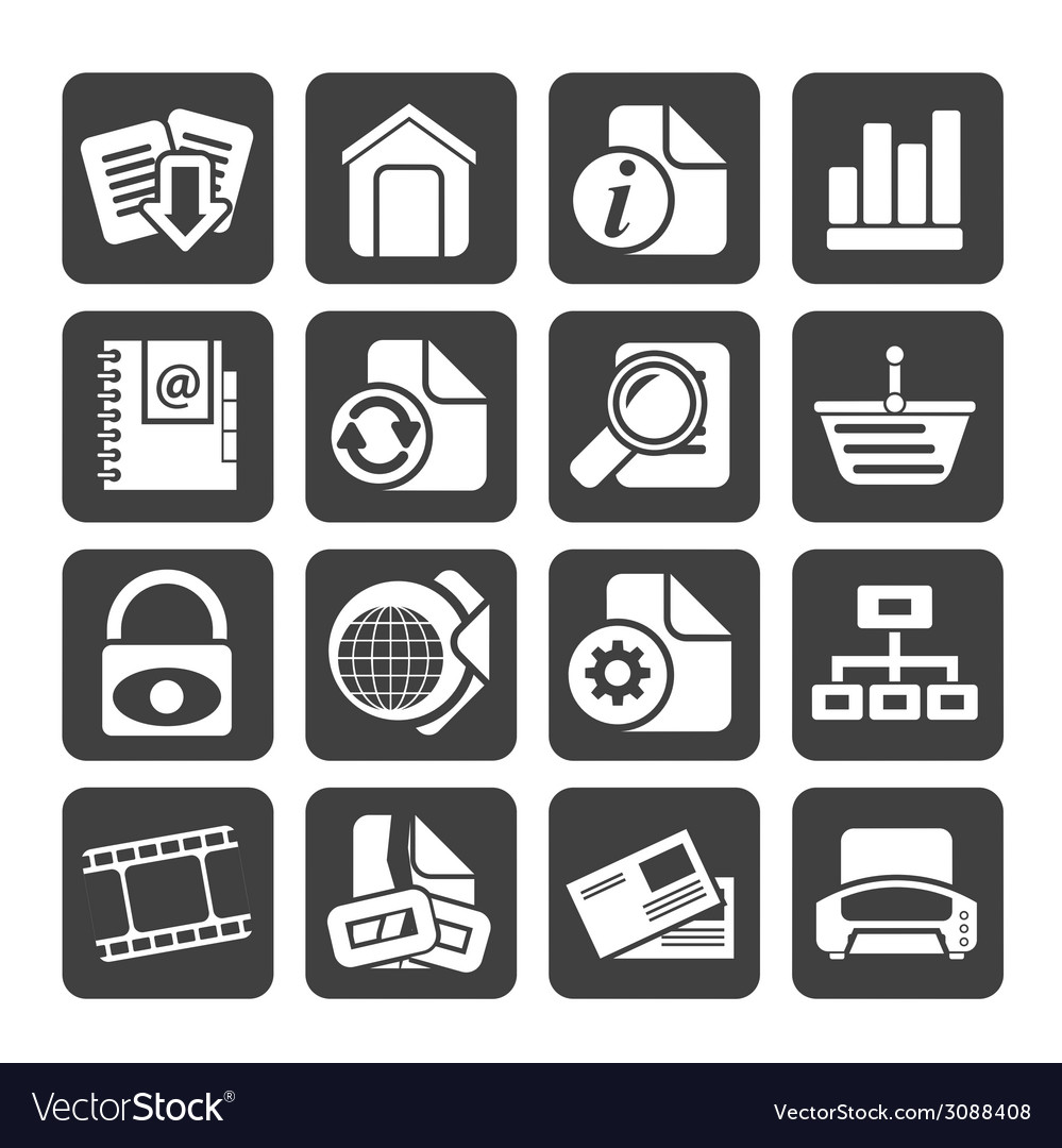 Silhouette web site and internet icons vector