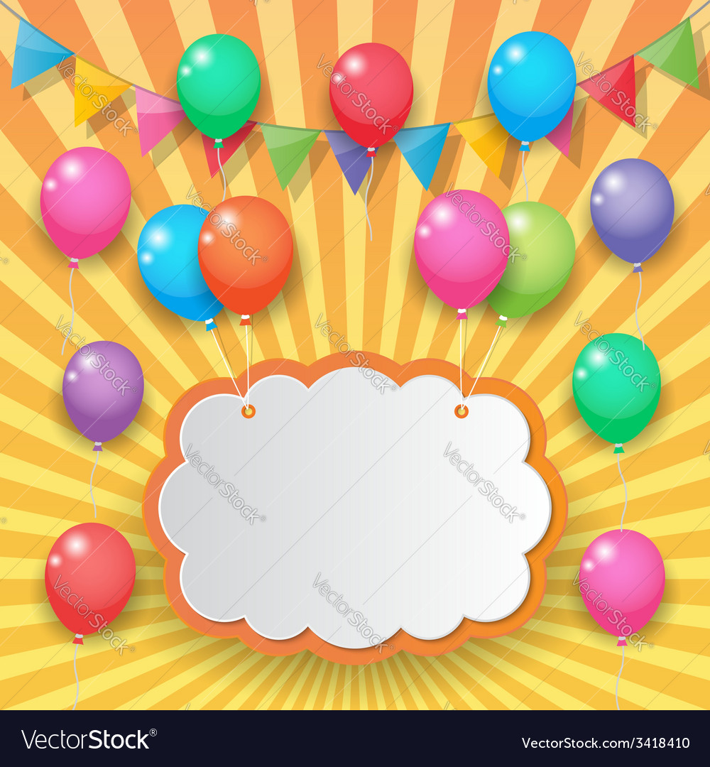 Balloon and party flags on brickwall background vector