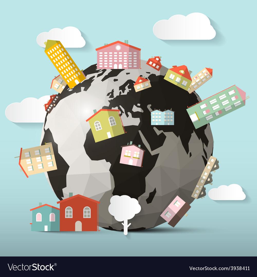 Houses on globe - earth vector