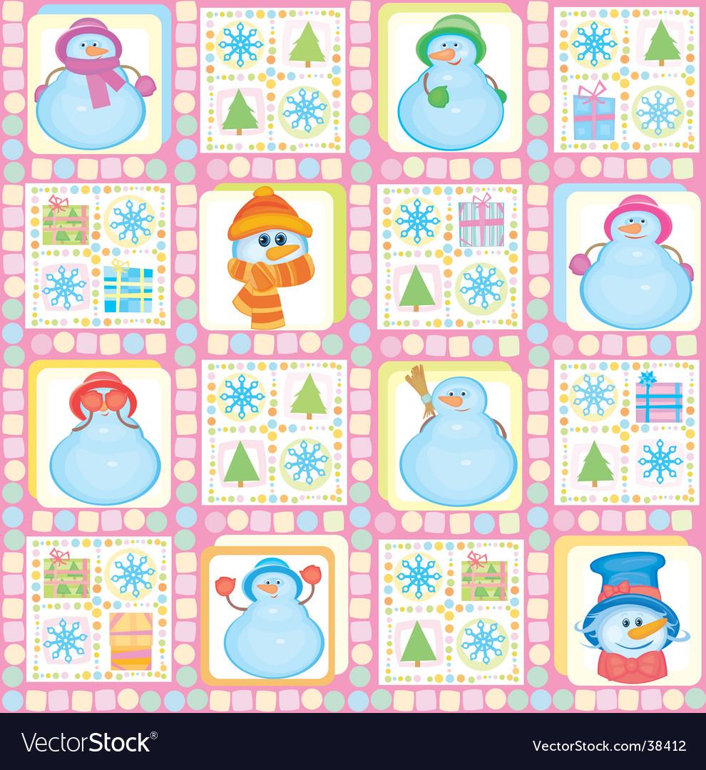 Christmas background funny snowmen vector