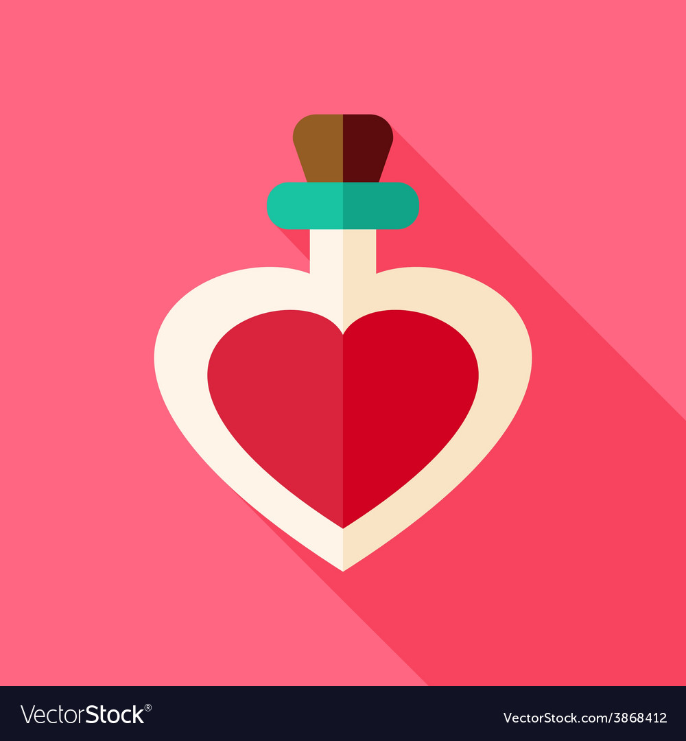 Love bottle with heart shape vector