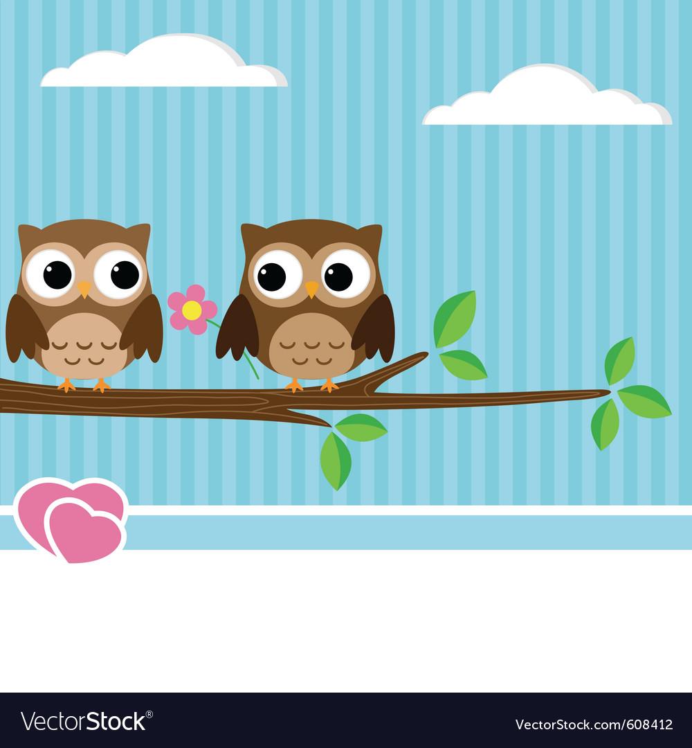 Owl couple vector