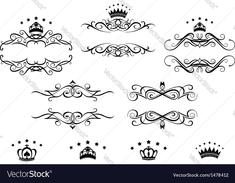 Retro frames set with royal crowns vector