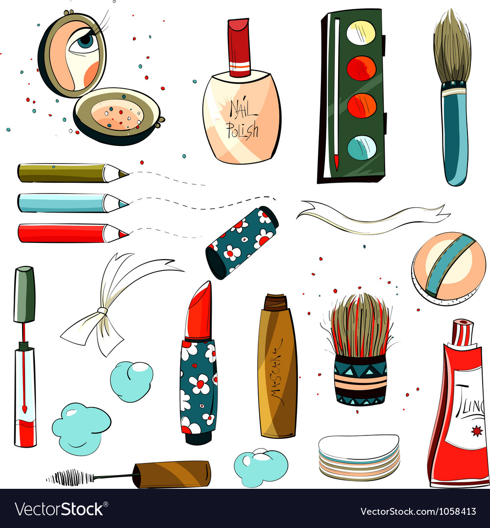 Makeup set colorful drawing vector