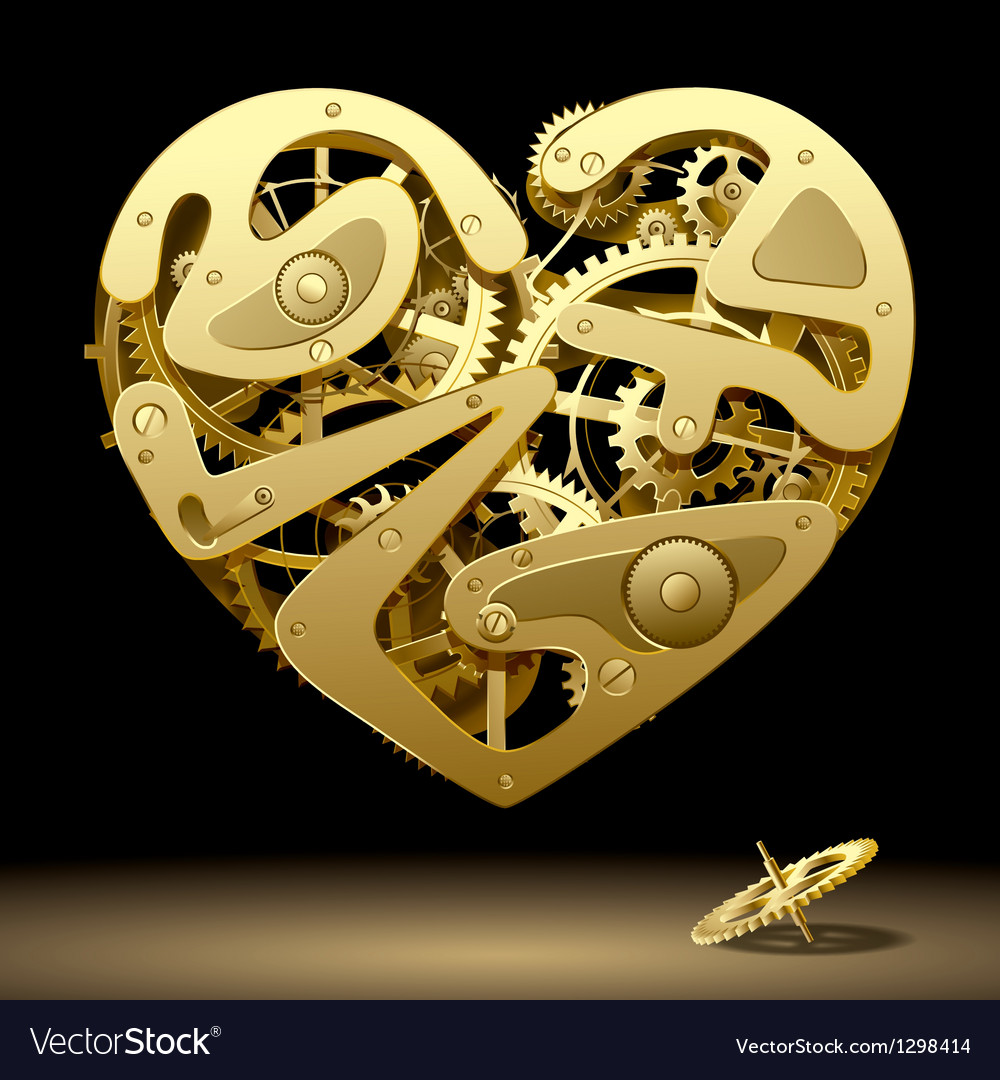 Clockwork heart gold vector