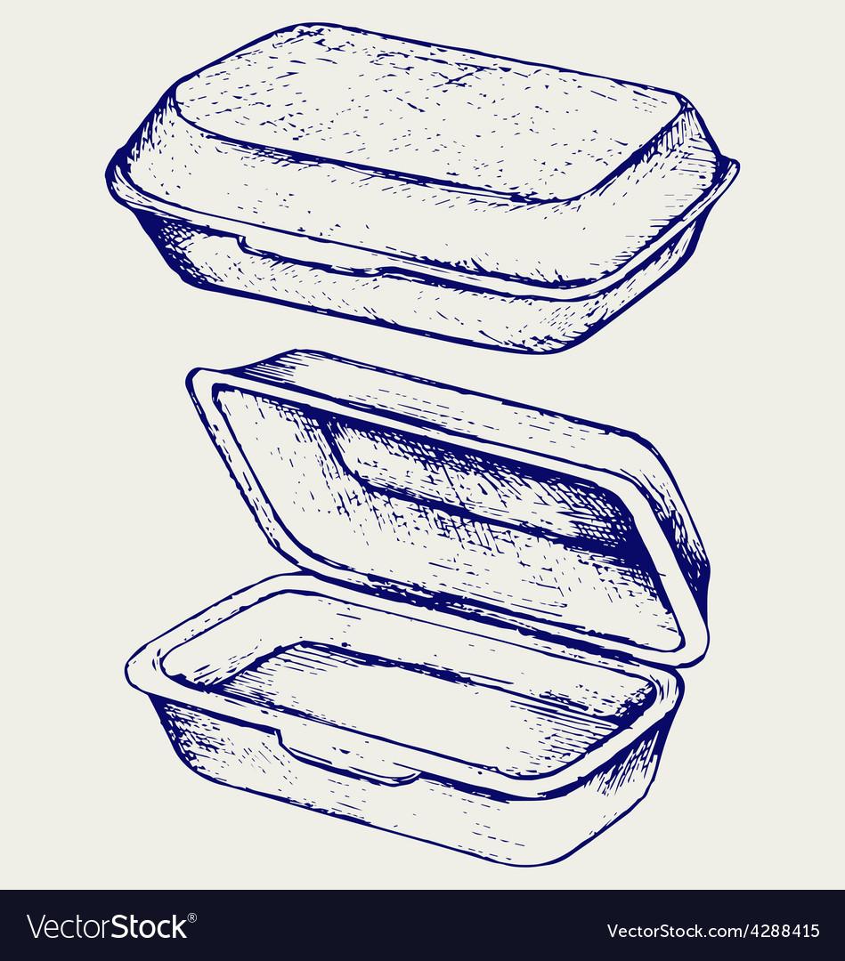 Foam meal box vector
