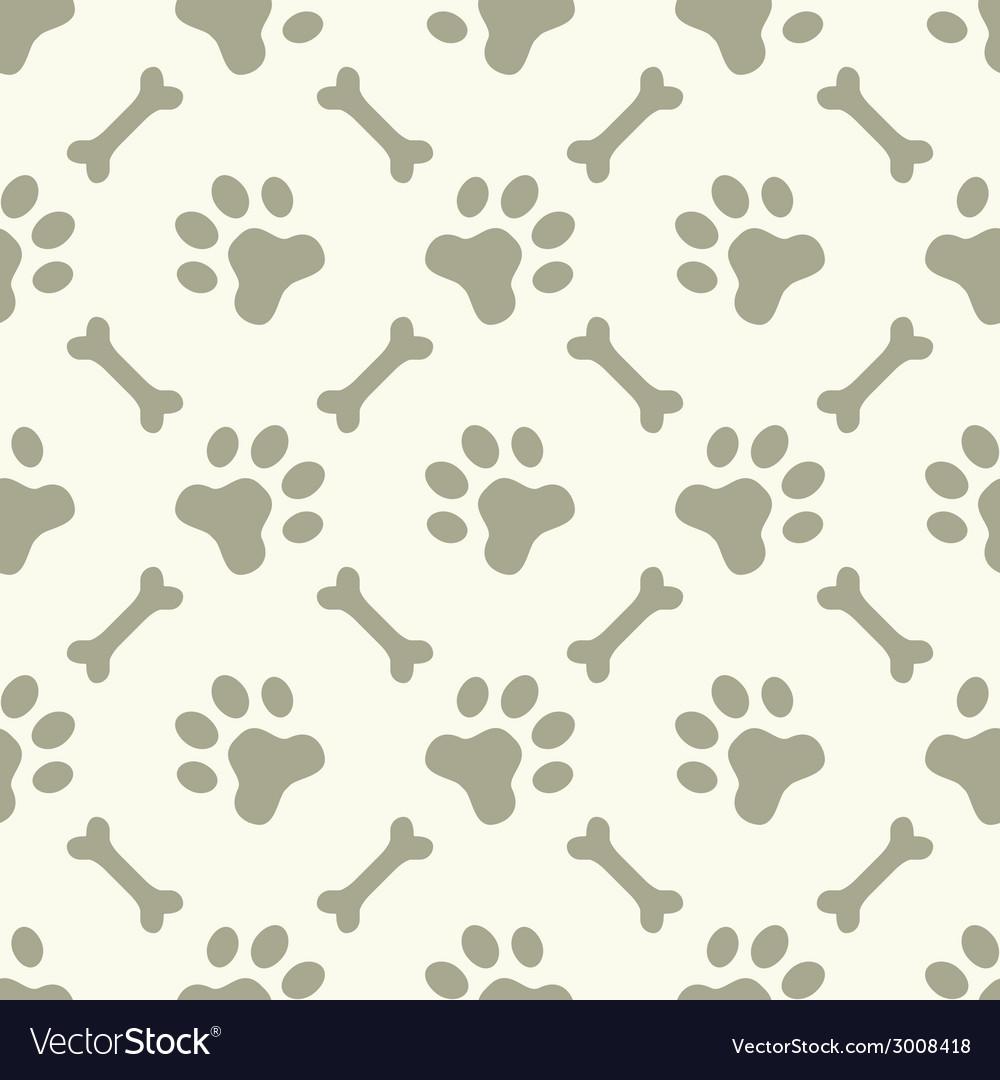 Dog paw footprint seamless pattern vector