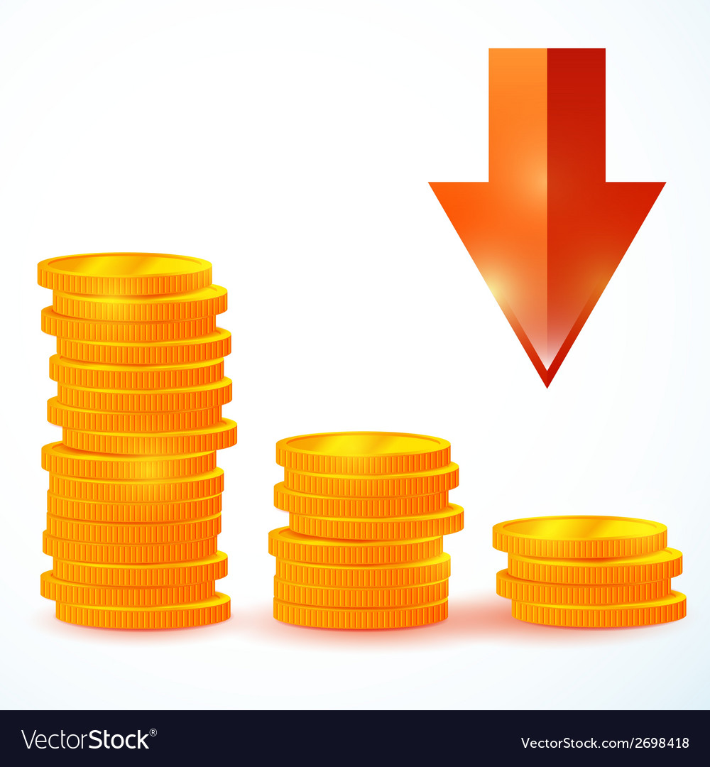 Group of coins down vector